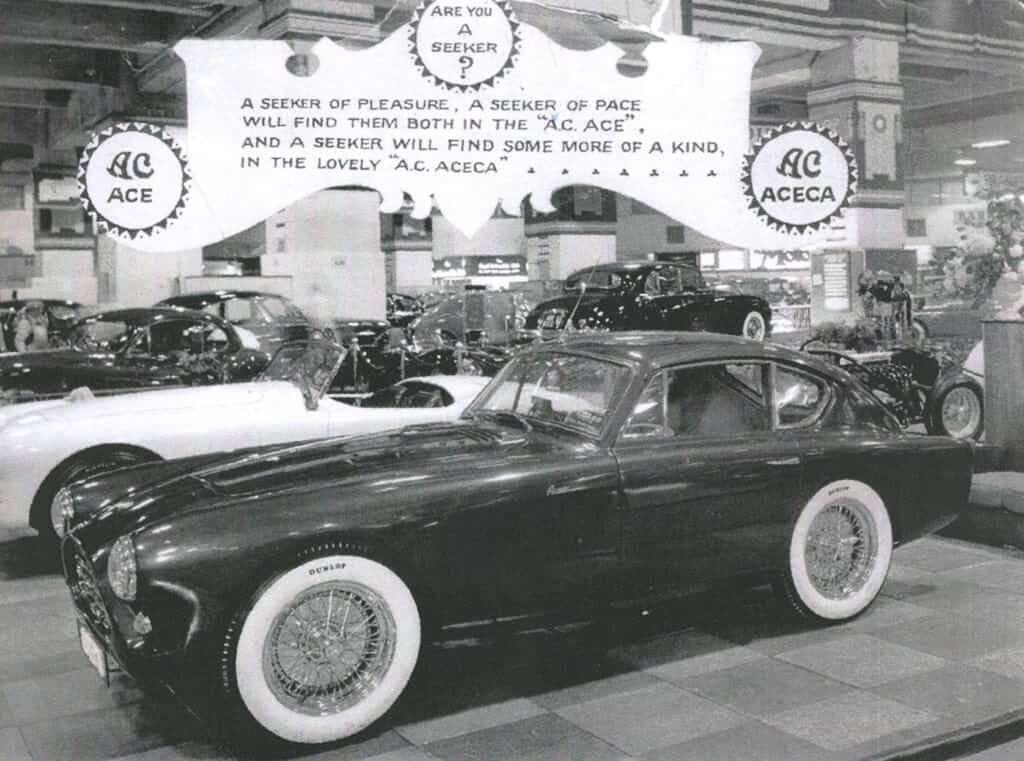 AC Aceca on stand at Earls Court Motor Show 1954