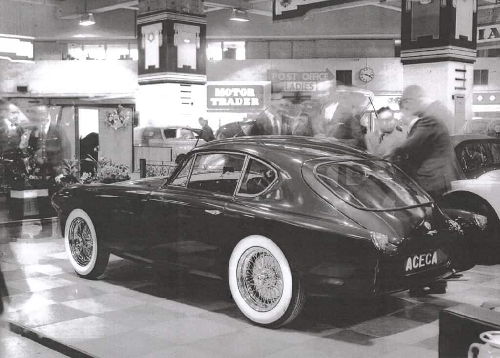 AC Aceca on stand at Earls Court Motor Show 1954 rear view
