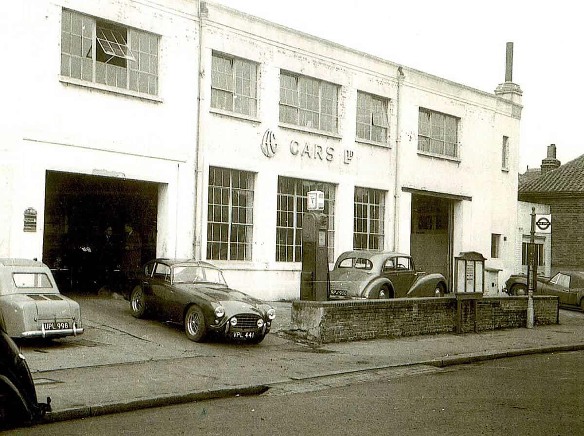 AC Bluebird outside AC Cars Ltd at Thames Ditton