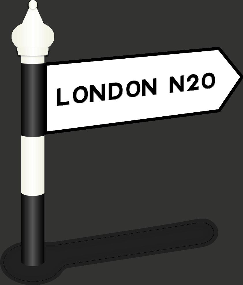 London N20 Road Sign