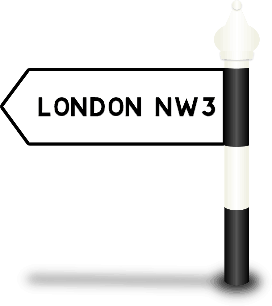 London NW3 Road Sign