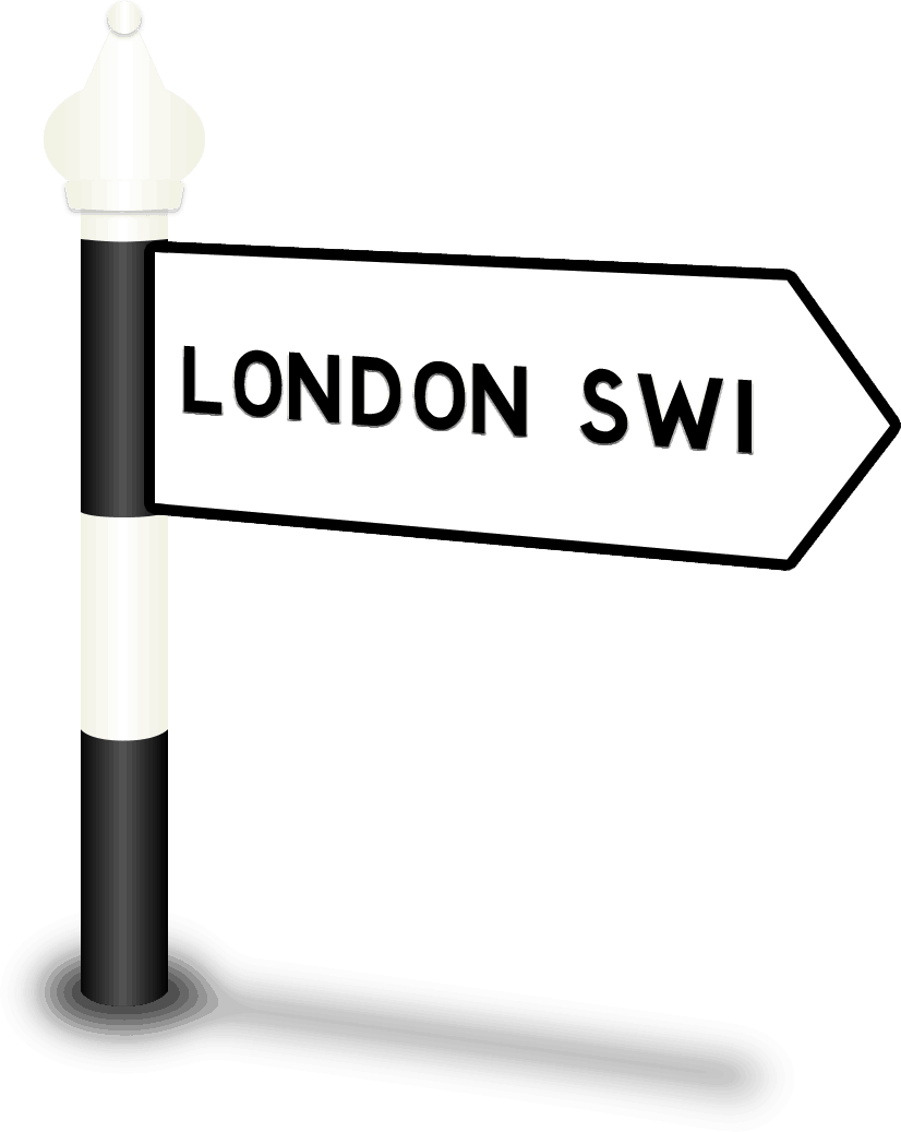 London SW1 Road Sign