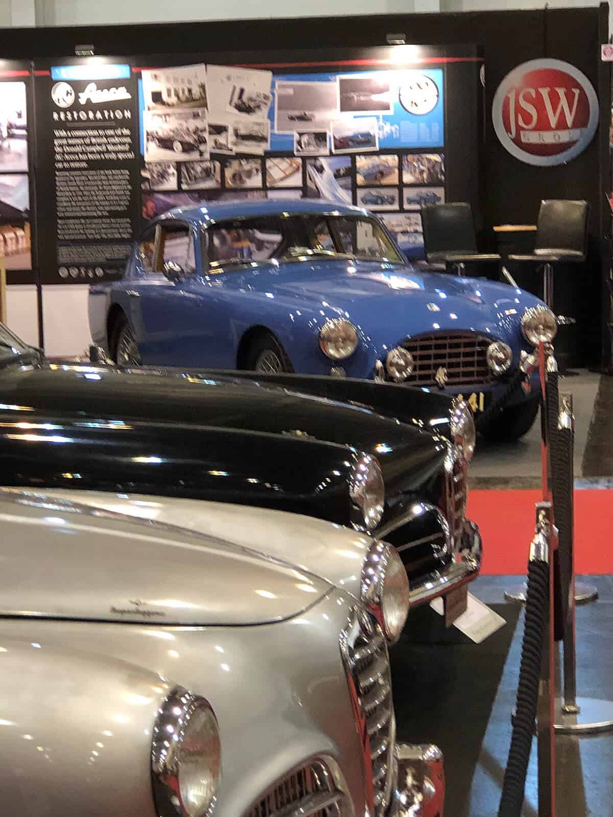 Front view AC Bluebird Aceca VPL441 on the JSW stand at 2019 Techno Classica Car Show in Essen
