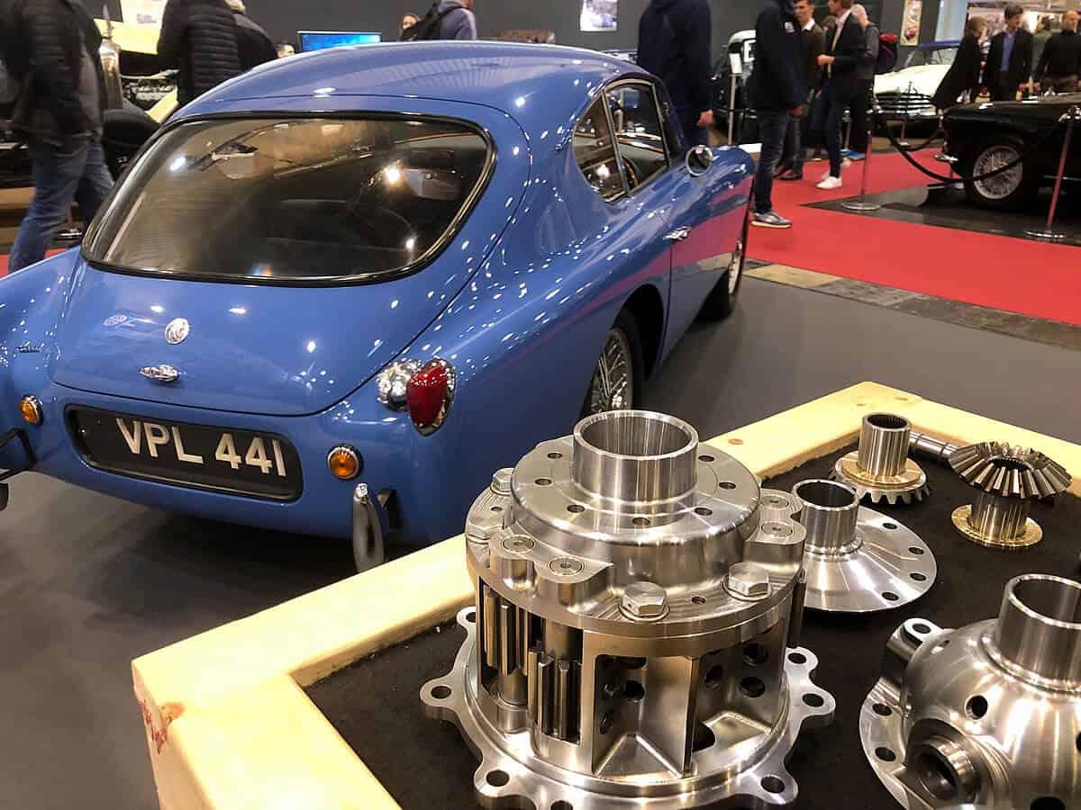 Rear view AC Bluebird Aceca VPL441 on the JSW stand at 2019 Techno Classica Car Show in Essen