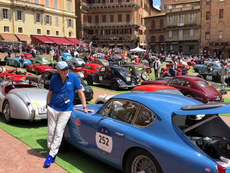 AC Bluebird and Kevin Shilling taking it easy in the Square in Siena on the 2019 Mille Miglia