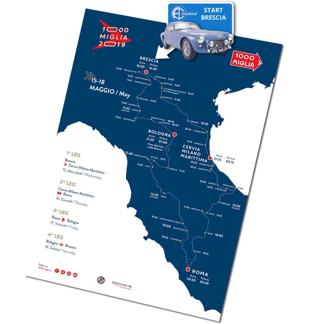 AC Bluebird on the Mille Miglia 2019 Route Map