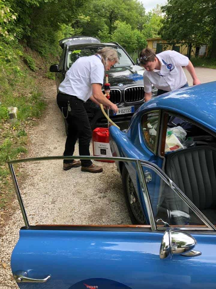 AC Bluebird refuel on second day of Mille Miglia 2019