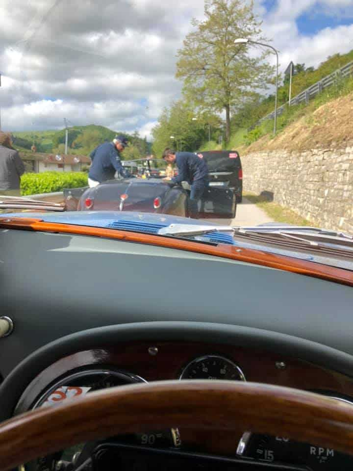 AC Bluebird view from the driver's seat after refuel on second day of Mille Miglia 2019