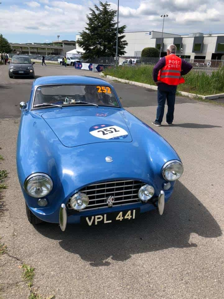 AC Bluebird waiting for start of special stage on Day 3 Mille Migla 2019