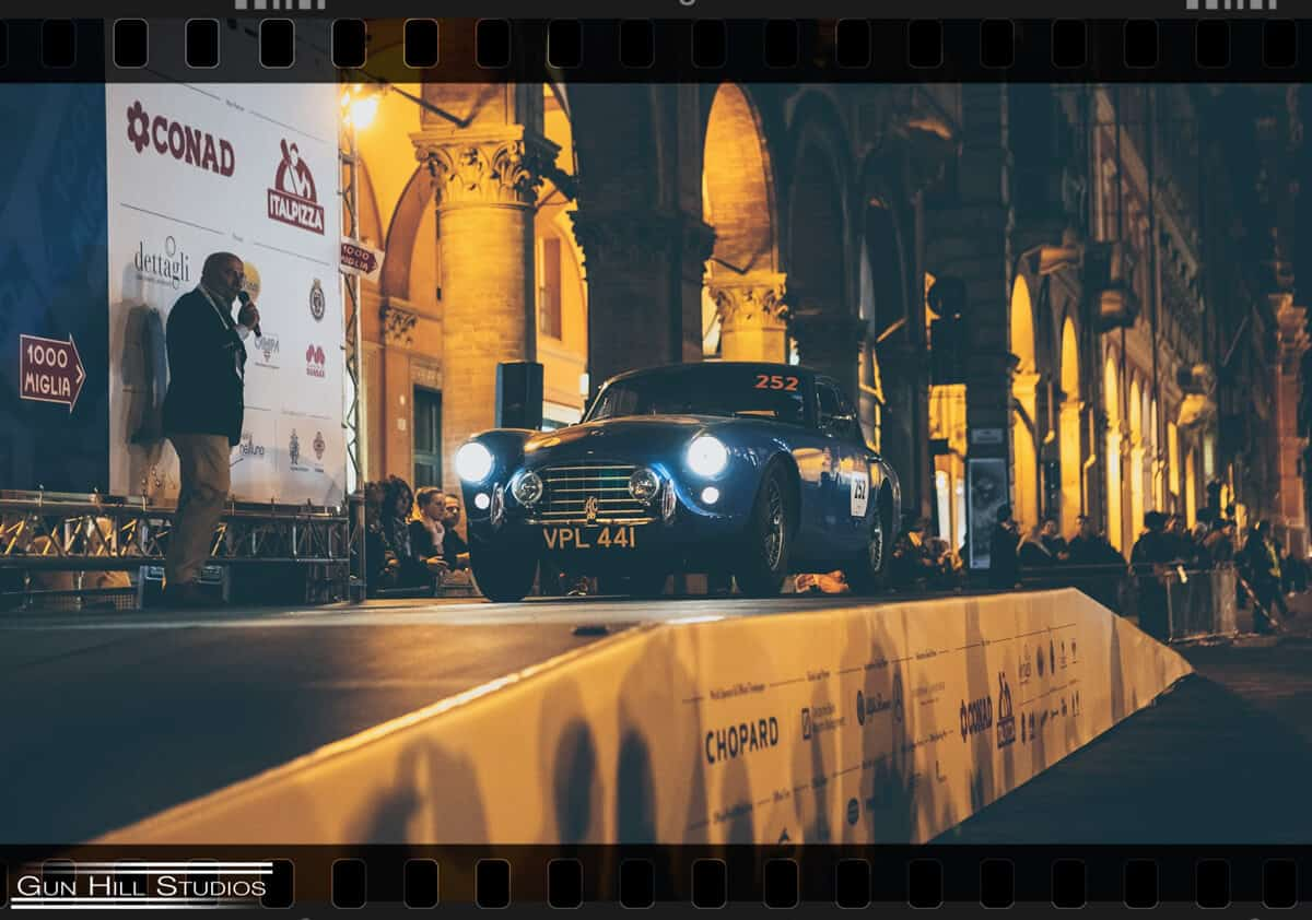 Mille Miglia 2019 - AC Bluebird on the ramp at Bologna