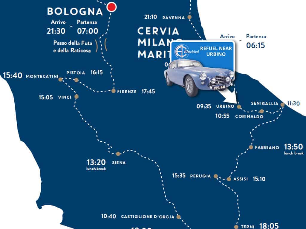 Route Map Day 2 Mille Miglia - Refuel near Urbino