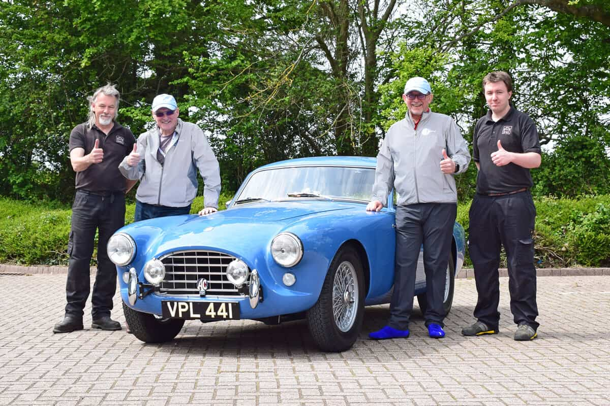 The AC Bluebird Mille Miglia Team Thumbs up