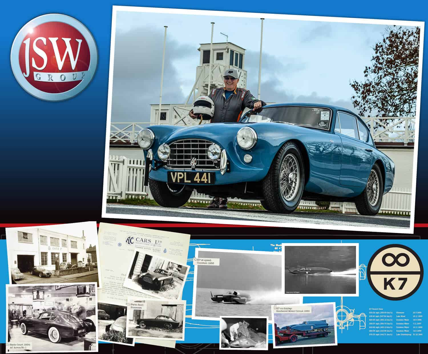 AC Bluebird at Goodwood Revival 2019 on the JSW stand 318