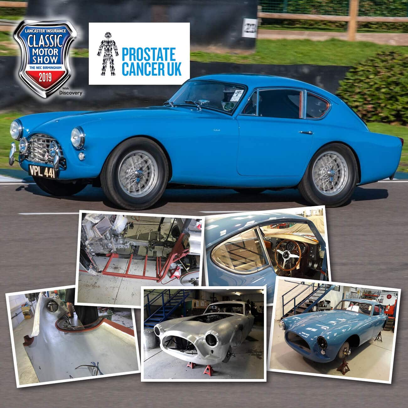 AC Bluebird supporting Prostate Cancer UK at the Classic Car Show 2019 NEC