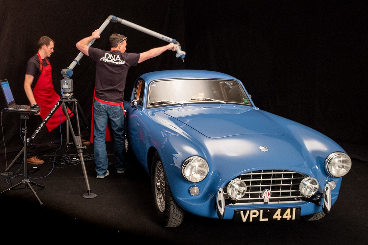 AC Bluebird being scanned by the DNA Coachworks team