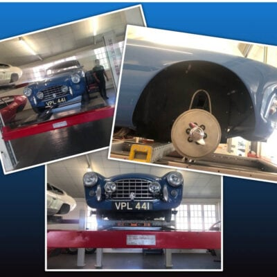 AC Bluebird having improvements made to the steering box and an anti-roll bar is being fitted by AC Heritage at Brooklands Motor Company Ltd