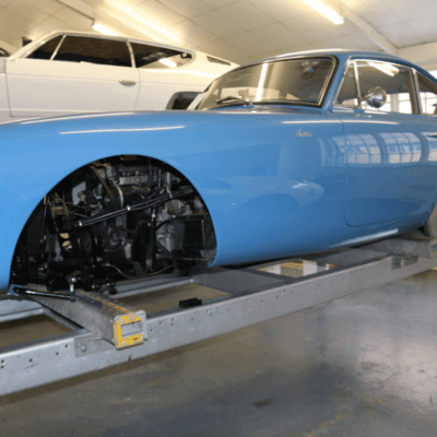 AC Bluebird at Brooklands Garage
