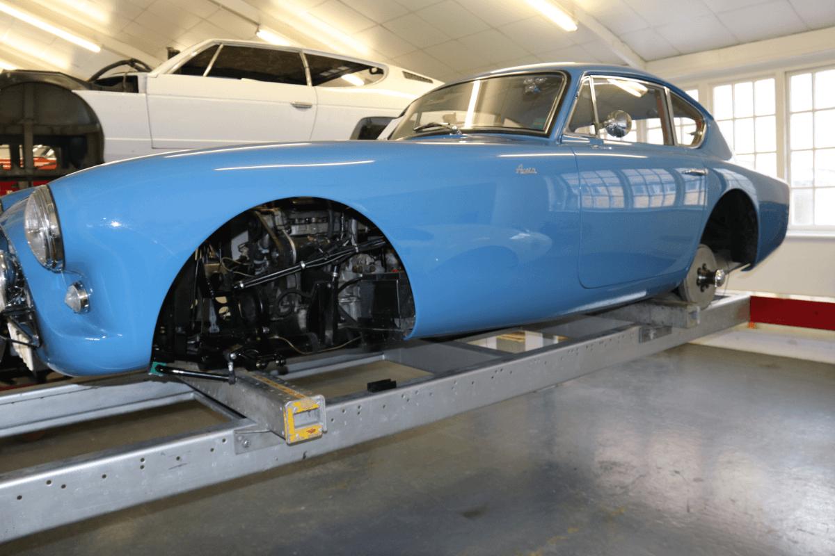 AC Bluebird at Brooklands Garage
