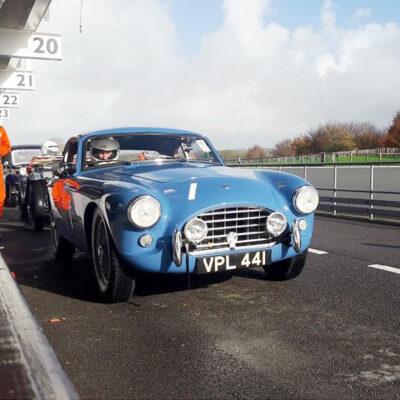 AC Bluebird in the pit lane, Goodwood circuit