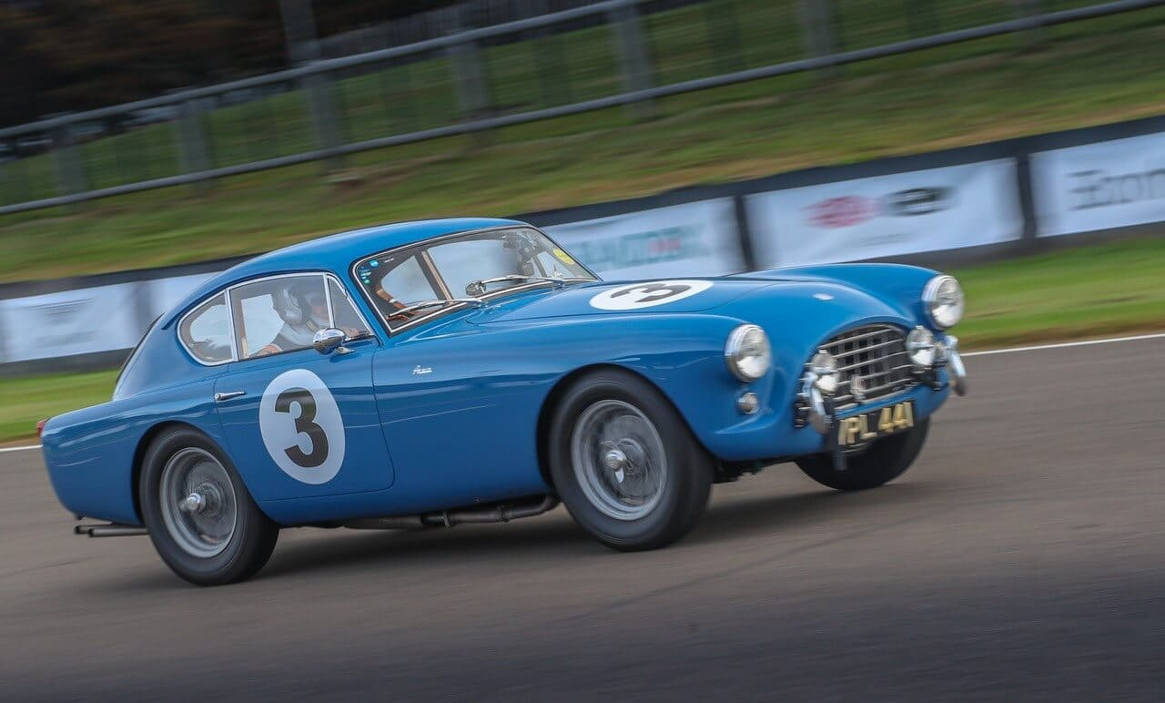 AC Bluebird racing and leading its class at Goodwood 2021 ACOC Club Sprint
